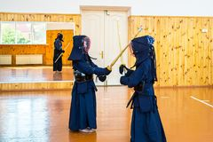 Japanese martial art of fighting the sword. School for children and adults. Sport royalty free stock images