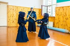 Japanese martial art of fighting the sword. School for children and adults. Sport royalty free stock photography