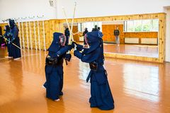 Japanese martial art of fighting the sword. School for children and adults. Sport royalty free stock image
