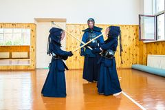 Japanese martial art of fighting the sword. School for children and adults. Sport stock image