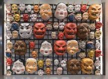 Japanese mask decoration at souvenir shop.  royalty free stock image