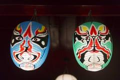 Japanese mask. Night scene of japanese mask inside the building stock photography
