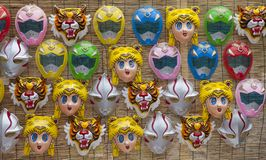 Japanese masks of some special characters Royalty Free Stock Image