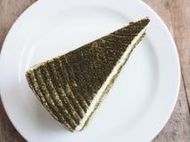 Japanese Matcha Green tea cake Stock Photos
