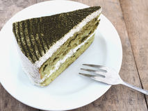 Japanese Matcha Green tea cake Stock Photos