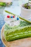 Japanese Matcha Green tea cake Stock Images