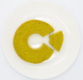 Japanese Matcha Green tea layer cake on white disk Stock Photography