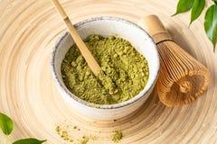 Free Japanese Matcha Green Tea Powder, A Healthy Natural Product, Antioxidant. Bamboo Spoon And Whisk. Royalty Free Stock Photos - 166473838
