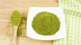 Japanese matcha green tea powder on the spoon Stock Image