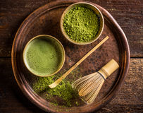 Japanese matcha green tea. Japanese matcha green powdered tea served in matcha bowl Royalty Free Stock Images