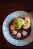 Matcha ice cream with shiratama mochi, red bean paste, whip crea. Japanese Matcha ice cream with shiratama mochi, red bean paste, whip cream Stock Photos