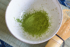 Japanese Matcha Tea. Japanese Matcha green tea powder in a chawan or traditional ceramic bowl with a chasen or bamboo whisk stock images