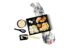 Japanese Meal in a Box Bento  on white background Royalty Free Stock Image