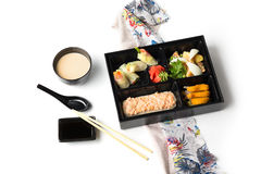 Japanese Meal in a Box Bento  on white background Stock Photography