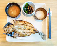 Japanese meal set, roast fish with soup Royalty Free Stock Image