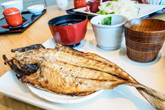 Japanese meal set, roast fish with soup Stock Images