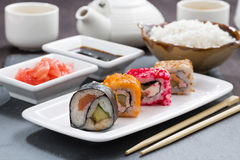 Japanese meal - sushi and rolls, close-up Stock Photo