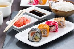 Japanese meal - sushi and rolls Royalty Free Stock Photos
