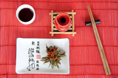 Japanese meals on red mat Royalty Free Stock Photos