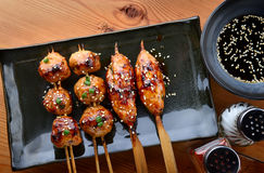 Japanese meatball grill  tsukune. Stock Photos