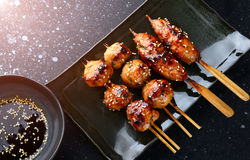 Japanese meatball grill  or tsukune. Stock Images
