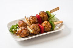 Japanese Meatball Kushiyaki, Skewered and Grilled Meat Stock Photo