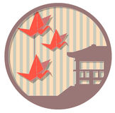 Japanese medallion 3. Round vector illustration based on Japanese design themes Royalty Free Stock Images