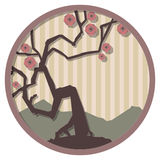 Japanese medallion 1. Round vector illustration based on Japanese design themes Royalty Free Stock Photos