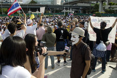 Japanese media interviews protest leader. BANGKOK, July 14: Japanese media interview the rally leader as anti-government protestors supporting the white-mask Stock Photography