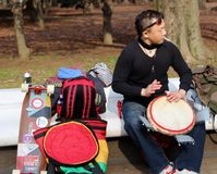 Japanese men practicing on the bongos in the park Tokyo Stock Photos