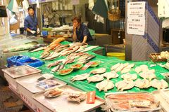 June 2018, Men market vendors seafood fish Omicho food market hall, Kanazawa, Japan Royalty Free Stock Images