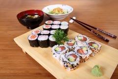 Japanese menu sushi salad and soup Royalty Free Stock Images