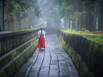 Japanese Miko on Path in Nikko. A Japanese Miko Shrine Maiden in Nikko walking down an atmospheric path in the hills Stock Photos