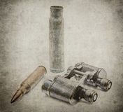 Japanese military binoculars with bullets Stock Image