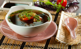 Japanese miso soup. With shrimps stock images