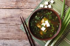 Japanese miso soup in a brown bowl horizontal top view Stock Photo
