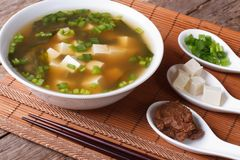 Japanese miso soup and ingredients close-up. horizontal. Japanese miso soup and ingredients on the table close-up. horizontal Royalty Free Stock Photography