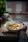 Japanese miso soup with tofu and shimeji mushrooms. Royalty Free Stock Photo