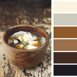 Japanese miso soupon a wooden table Royalty Free Stock Images