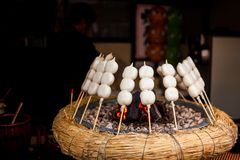 Mitarashi Dango on Fire. Japanese Mitarashi Dango on Fire Royalty Free Stock Image