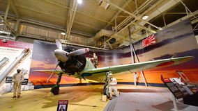 Japanese Mitsubishi Z6M Zero fighter aircraft on display at Pearl Habor Pacific Aviation Museum. OAHU - NOVEMBER 19: Japanese Mitsubishi Z6M Zero fighter royalty free stock photos
