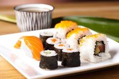 Japanese mix sushi, oriental cuisine colorful theme Royalty Free Stock Image