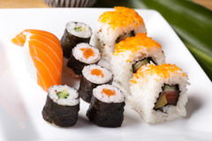 Japanese mix sushi, oriental cuisine colorful theme Royalty Free Stock Photography