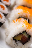 Japanese mix sushi, oriental cuisine colorful theme Royalty Free Stock Images
