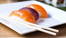 Japanese mix sushi, oriental cuisine colorful theme Royalty Free Stock Photos