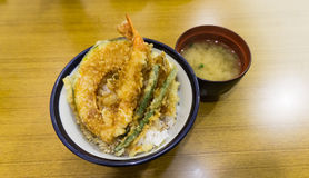 Japanese mixed Tempura with rice and soup. On a food table Royalty Free Stock Images