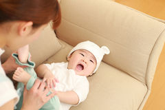 Japanese mom and her baby Stock Image