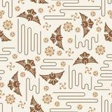 Japanese Mon Koi Fish Icon Style Seamless Pattern Stock Image