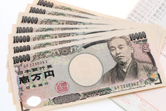 Japanese money and bankbook Royalty Free Stock Image