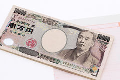 Japanese money and bankbook Stock Images